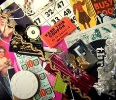 New to pinksupply on Etsy: collage scrap pictures ribbons ephemera small objects who knows (9.99 USD)