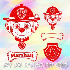 SVG DXF Png Paw Patrol Layered Cuttable File Marshall Dog Bone Name Paw Badge Shield Cricut Design Silhouette Studio Tshirt Iron on Birthday Paw Patrol Shirt, Paw Patrol Party, Silhouette Studio, Silhouette Cameo, Vinyl Crafts, Vinyl Projects, Layered Cuts, Transfer Paper, Cricut Design