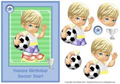 Soccer star topper decoupage on Craftsuprint designed by Toni Martin - Soccer themed card front / topper with decoupage layers for your little soccer star on his birthday. - Now available for download!