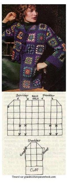 Crochet Jacket Pattern, Gilet Crochet, Granny Square Crochet Pattern, Cardigan Pattern, Crochet Squares, Crochet Cardigan, Crochet Granny, Crochet Shawl, Crochet Patterns