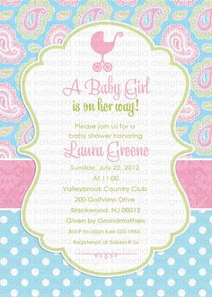 I Love This Chic Hot Pink Green Paisley Baby Shower Invitation