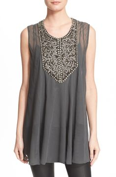 Haute Hippie Embellished Silk Tunic available at #Nordstrom