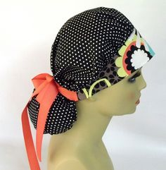 Women's Bouffant Scrub Hat or Cap  Polka Dot with by ScrubsbyEdie