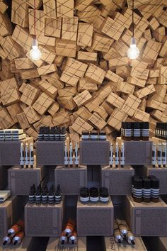 March Studio were inspired to create an organic, flowing space to mark Aesop's arrival at Merci. Consisting of 4500 cardboard shipper boxes, (the very same boxes that Aesop uses to ship their product worldwide) the boxes were trapped in a 40...