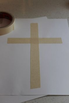 Cross Craft - masking tape cross on white paper (preferably cardstock as it's thicker) . . use water colours to paint over the cross ten peal the masking tape away slowly.
