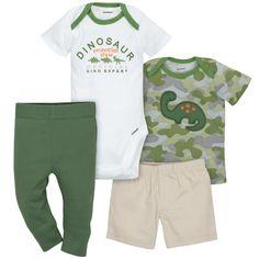 Gerber Baby Boys' 4pc Dino Bodysuit, Shorts, Shirt and Pant Set - Green 3-6M