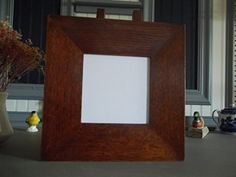 """Arts & Crafts Mission Quarter Sawn Oak 3"""" wide 4"""" X 4"""" Tile Frame Fits Motawi Handcrafted/Handmade. MY MIRROR IS MADE FOR THE TRADITIONAL CLASSIC CRAFTSMEN HOME. THE DESIGN SPRINGS FROM THE SENSE OF WARMTH AND SIMPLE LIVING THAT WAS THE GOAL OF THE CRAFTSMEN STYLE. THIS MIRROR FEATURES GENUINE THROUGH TENON JOINERY WITH PEGGED JOINTS. THE WOOD IS QUARTER SAWN WHITE OAK WHICH IS DYED AND FINISHED TO BRING OUT THE BEAUTIFUL RAYS OF THE QUARTER SAWN OAK."""