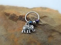 Elephant Cartilage Earring with Purple Blue Bead Captive Hoop Body Jewelry 18ga 16ga