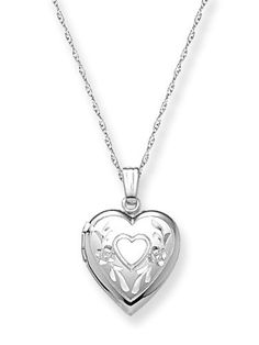 "14k White Gold Engraved Heart Locket, 18"" Amazon Curated Collection. $237.99. This item is handcrafted in the USA. Save 39%!"