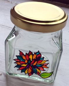 Designer Hand Painted Glass Chrysanthemum Jar by HandPaintedJar on Etsy Glass Jars, Mason Jars, Chrysanthemum, Gifts For Friends, Snow Globes, My Etsy Shop, Hand Painted, Unique Jewelry, Handmade Gifts