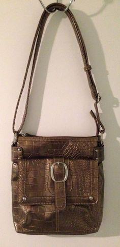 ONLY $0.99 @Ebay   MONDANI Metallic Brown Faux Crocodile Pattern Shoulder Purse #Mondani #ShoulderBag