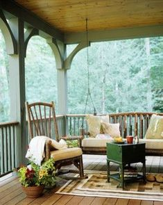 Covered porch to sit and relax and view the scenery Cabin Porches, Decks And Porches, Outdoor Spaces, Outdoor Living, Outdoor Decor, Outdoor Projects, Indoor Outdoor, Porch Furniture, Outdoor Furniture Sets