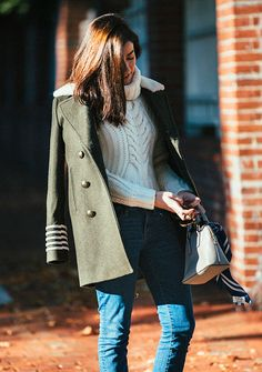 Cream cable knit turtleneck sweater, olive peacoat and skinny jeans - fall outfit