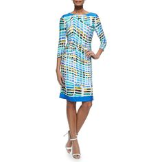 Kay Unger New York 3/4-Sleeve Printed Ruched Sheath Dress (£195) ❤ liked on Polyvore featuring dresses, blue multi, boat neck dresses, white 3/4 sleeve dress, ruched dress, sheath dresses and ruched waist dress