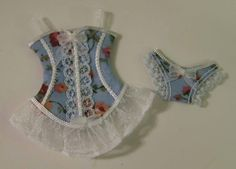 Dollhouse Miniature, 12th Scale, Lingerie and Corset set, for your Dollhouse or Shop, Shabby, Paris, Victorian Antique Dollhouse, Dollhouse Dolls, Miniature Dolls, Dollhouse Miniatures, Corset, Dress Card, Crazy Quilting, Hello Dolly, Fairy Dolls