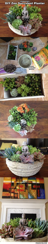 Vitamin-Ha – Create your own Tabletop Zen Succulent Garden DIY Garden Yard Art When growing your own Succulent Gardening, Succulent Terrarium, Container Gardening, Succulent Ideas, Hanging Succulents, Succulents Garden, Planting Flowers, Diy Garden, Garden Projects