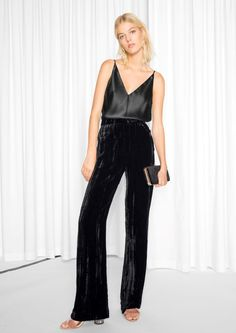 & Other Stories Crushed Velvet Trousers in Black