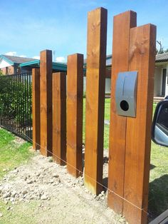 Our new front fence with letterbox