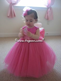 Shock pink tulle flower girl dresses - Pegeen Couture Collection Style 402