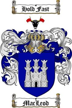 MacLeod coat of arms/family crest. Bull. Hold Fast = Tenir Bon