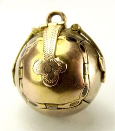 """Vintage 9ct Gold & Silver MASONIC BALL ORB Opens Individual 'ARMS"""" Charm FOB…"""