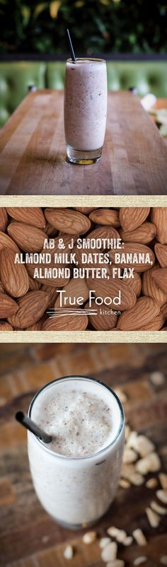 Join us for weekend brunch and give our AB & J Smoothie a try - made with almond milk, dates, banana, almond butter and flax.
