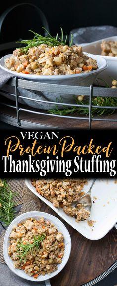 Protein Packed Vegan Thanksgiving Stuffing   www.veggiesdontbite.com   #vegan #wholefoods #plantbased #sponsored #OzeryBakery #Ozery #OBCreation via @veggiesdontbite