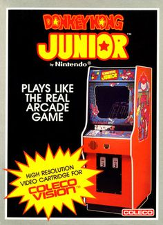 Donkey Kong Junior - Mario has kidnapped Junior's Papa! was originally released in the arcades in 1982 as a sequel to Donkey Kong. In this game, Mario plays the antagonist, finally having captured Donkey Kong, and has put the ape i Vintage Video Games, Classic Video Games, Retro Video Games, Retro Arcade Games, Pinball Games, Donkey Kong Junior, Pc Engine, Retro Images, School Videos