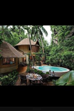 Polynesian inspired structures in natural  private surroundings.