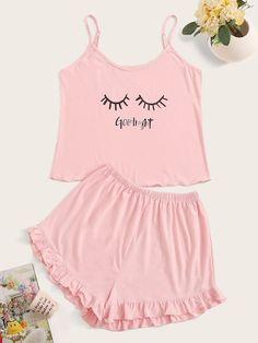 Eyelash & Letter Print Cami Pajama Set-Clothing for Women Cute Pjs, Cute Pajamas, Girls Pajamas, Pajamas Women, Cute Sleepwear, Sleepwear Women, Lingerie Sleepwear, Pajama Outfits, Girl Outfits