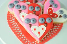 Galletas adorables, para San Valentín! Via blog.fiestafacil.com / Adorable owl cookies for Valentine's Day! Via blog.fiestafacil.com