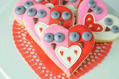 Galletas adorables, para San Valentín! Via blog.fiestafacil.com / Adorable owl cookies for Valentine's Day! Via blog.fiestafacil.com