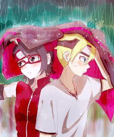 Boruto y Sarada bajo la lluvia... ❤ #borusara #boruto #naruto