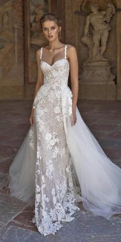 helena kolan wedding dresses 2019 fit and flare with straps overskirt tulle lace - Bridal Gowns Dresses Elegant, Stunning Wedding Dresses, Colored Wedding Dresses, Perfect Wedding Dress, Boho Wedding Dress, Dream Wedding Dresses, Wedding Attire, Bridal Dresses, Vintage Dresses