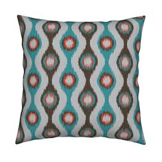 Ikat Stringed Beads Teal Brown Orange on Catalan by wickedrefined | Roostery Home Decor You can get this fabric in my spoonflower shop. #roostery #pillows  #homedecor #ikat #simple #modern #stripes #fabric #blue #orange #brown #grey #gray