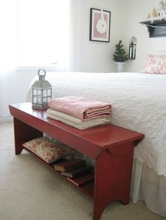 find a bench like this and paint it red....                                                                                                                                                                                 More