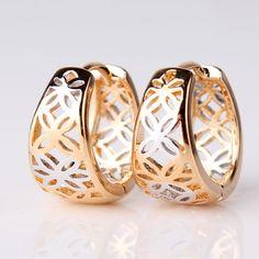pendientes de aro redondo de mujer moda 18 K oro aretes de platino plateado pendientes huecos Vintage joyería