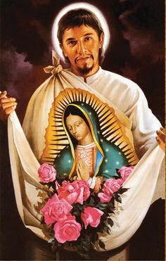 Juan Diego and on his tilma the image of Our Lady of Guadalupe