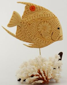 Custom Made Saltwater Angelfish For Mantel Or Shelf Display - Sculpted & Chip Carved By Hand In Basswood