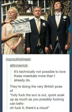That's what we northern people do when the sun shows itself once a decade - britney - Sherlock - Sherlock Bbc, Sherlock Fandom, Funny Sherlock, Benedict Cumberbatch Sherlock, Watson Sherlock, Sherlock Quotes, Jim Moriarty, Johnlock, Baker Street
