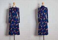 Navy blue dress   Novelty dress   Ribbon printed dress   Japanese dress   Long dress   Horse dress   50s 60s 70s dress   Vintage dress by VintageCosmopolitan on Etsy