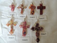 Cross jewelry pendants made from your flowers. Memorial flowers, custom keepsakes. Floral preservation.