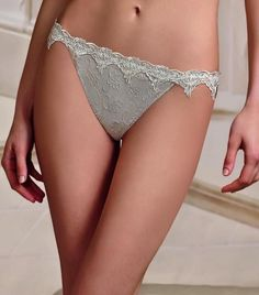 Lise Charmel Serti Guipure Grey Thong Us S / M / L / Xl / String Tanga Gris