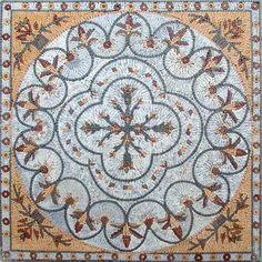 Botanical Mosaic Panel - Rich Earth Tones - Mosaic Rugs - Handmade Mosaics   #Mozaico