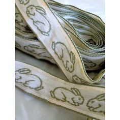 画像1: うさぎの刺繍 トリム テープ ヴィンテージ ソーイング (1)
