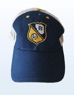 fbf2f5cacac US Navy Blue Angels Blue Yellow Strapback Adjustable Baseball Hat Cap Mesh  Back