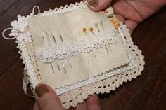 Lace needlecase - note lace over felt tabs for pins and needles - lovely details!