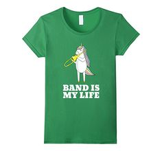 6ad07ac1dee03 Amazon.com  Band is My Life Funny Unicorn Ma Playing Trombone T-Shirt   Clothing
