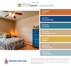 I found these colors with ColorSnap® Visualizer for iPhone by Sherwin-Williams: Yam (SW 6643), Honorable Blue (SW 6811), Loch Blue (SW 6502), Dromedary Camel (SW 7694), Nugget (SW 6697), Beige Intenso (SW 9096), French Moire (SW 9056).