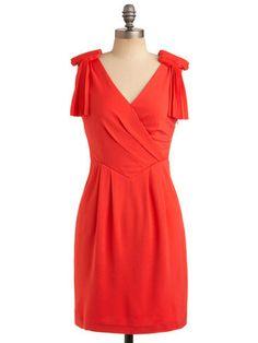 Modcloth Coral Pleated Shoulder Dress: Graduation Dresses